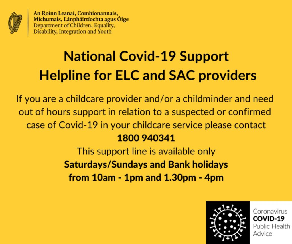 National Covid-19 Support Helpline for ELC and SAC providers
